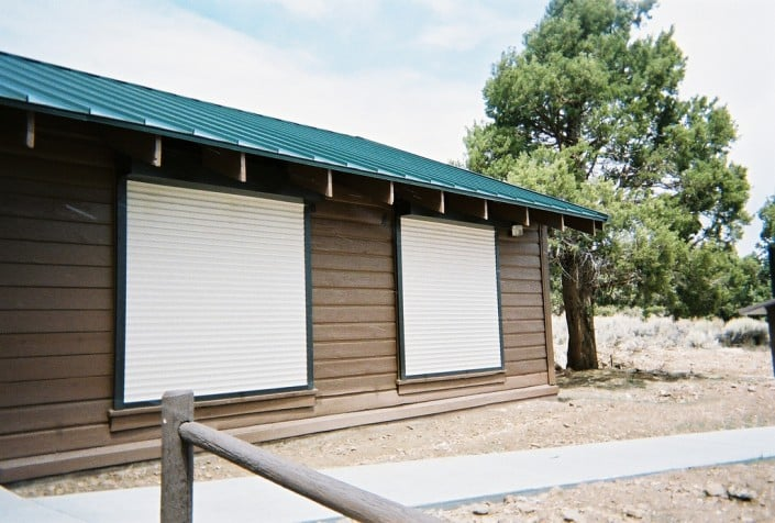 Vacation home with security shutters
